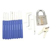 9pcs 파란색 핸들 잠금 해제 잠금 선택 투명 연습 자물쇠가있는 키 추출기 도구
