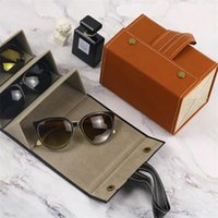 Occhiali Case Cover PU Leather 4/5/6 Paia di Sunglasses Box Box Occhiali da vista Scatola di immagazzinaggio solido Interruttore magnetico PU Borsa 210315