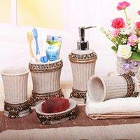 Conjunto acessório de banho Acessórios para banheiro retrô 5 pçs / set uma família de quatro titular de escova de dentes Ressin Wash copo kit de enxaguatório coreano