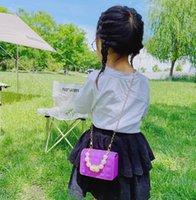 Luxus Kinder Gelee Handtasche Mode Mädchen Perle Kette Square Taschen Dame Stil Kinder Silikon Messenger Prinzessin Tasche A7172
