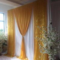 Party Decoration Wedding Background Centerpieces Favor 3MX3M 10FTX10FT Backdrop Curtain With Gold Sequin Swag Drapes Event Props