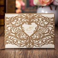 1 قطع عينة wishmade الليزر قطع بطاقات دعوات الزفاف مع تصميم القلب جوفاء لخريج دش الزفاف عيد ميلاد