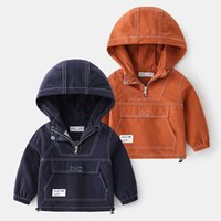 Jackets V-TREE Autumn Boys Jacket Hooded Windbreaker Kids Outerwear Coats Cotton Solid Baby Girls Casual Clothes 3-8y