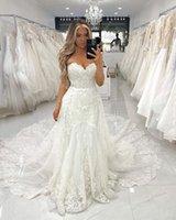Designer Lace Wedding Dress 2021 White Ivory Vintage Bridal Gowns Sweetheart Neck Appliqued Court Train Gorgeous Lady Marriage Dresses