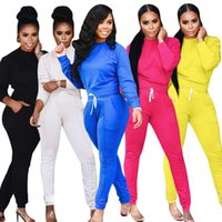Women Designers Clothes tracksuits 2021 women's casual fashion sports solid color long sleeve Pullover Top + drawstring pants set