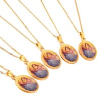Pendant Necklaces LUXUKISSKIDS Stainless Steel Necklace Blessed Virgin Mary Hug A Lovely Boy Pendants Necklaces,5pcs lot