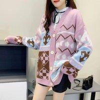 Tees de punto de mujer QRWR 2021 suéter de moda coreana primavera otoño v cuello solo pecho de gran tamaño impresión casual largo punto cárdigan