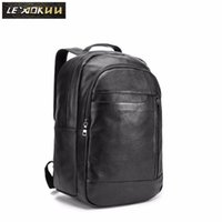 """Backpack Men Genuine Leather Design Casual Travel Bag Male Fashion Daypack College Student School Book 17"""" Laptop BB331"""