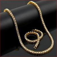 HIPHOP de diamant simulé de diamant simulé pour hommes MENS Dame Gold Bling Bling Bling Chaîne de tennis Collier Bracelet Ensemble 86 U2