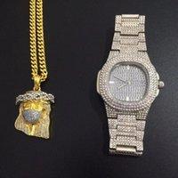 Brincos colar de luxo homens ouro cor relógio combo conjunto grande jesus pingente fora cubano hip hop jóias elegante para