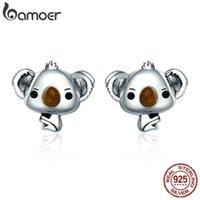 BAMOER Genuine 100% 925 Sterling Silver Animal Cute Koala Bear Stud Earrings for Women Sterling Silver Jewelry Gift SCE381 0210