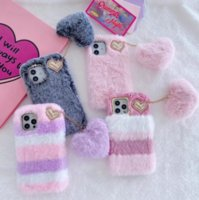 Stripes Fluffy Fur Genuine Rabbit Hair Soft TPU Cases For Iphone 13 12 11 Pro Max XR XS X 8 7 Plus Animal Bling Diamond Phone Cover Cute Lovely Fashion Love Heart Strap