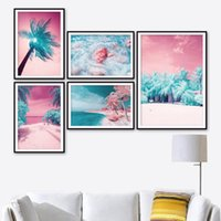 Paintings Blue Palm Tree Tropical Pink Beach Landscape Wall Art Canvas Painting Nordic Prints Poster Picture For Living Room Decor