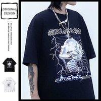 Hip Hop T Camiseta Homens Streetwear Imprimir Crânio Flash Tshirt Harajuku Tops de Verão T-shirt Preto de Algodão T-shirt 210527