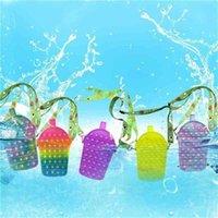 Kids Drinks shape push bubble fidget toy purses sesnory silicone bubbles bag crossbody shoulder bags fanny packs RRA9338