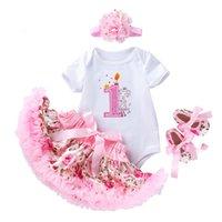 مجموعات الملابس الجديدة روز تنورة مجموعة 4 قطع جديد ولد الطفل الفتيات رومبير الرضع يتسابق بنات الأميرة طفل أطفال بدلة عيد ميلاد يبلغ من العمر سنة واحدة