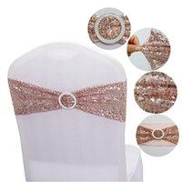 10pcs qualité paillettes chaise de chaise à paillettes rose or bandes tendues avec boucle ronde pour décoration de mariage événements décoration de fête Sashe