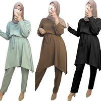 Ethnic Clothing Muslim Two Pieces Women Set Brief Solid O Neck Long Sleeve Tops With Pants Islamic Turkey Mubarek Eid Abaya