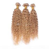 Honey Loira Kinky Curly Cabelo Humano Weave Virgin Malaysian Hair Trama Bundles 27 Afro Kinky Curly Loira Extensões de Cabelo 3pcs Lot