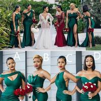 2021 Arabisch Elegant Eine Linie Brautjungfer Kleider Vier Arten von Schulter bodenlangen mit Split sexy Hausträgmaid of Honor Gowns Abendkleid