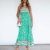 Casual Dresses Summer Women's Strapless 2021 Backless Bodycon Party Sleeveless Sexy Maxi Dress Floral Print Patchwork