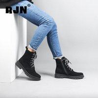 Rjn مريحة جولة تو السيدات الكاحل أحذية غريبة حزام تصميم ساحة ميد كعب أحذية كيد من جلد الغزال سستة النساء الشتاء الأحذية R20 R1RZ #