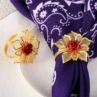 Кольца салфеток 12 шт. Мода EL Restaurant Золотое Цветочное кольцо Мягкая Образец Комната Пряжка рта Ткань
