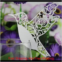 Wholesale- Diy Place Card Flying Birds Cups Glass Wine Wedding Name Cards Laser Cut Pearlscent Paper Cards Birthday Party Decoration V Fuelg