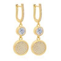 VAROLE Round with Sparkle CZ Dangle Chandelier Earring For Women Gold Color Drop Earrings Fashion Jewelry Kolczyki Wedding Gift