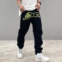High Street Green Imprimer Combinaisons brodées droites décontractées décontractés pantalons pantalons de denim surdimensionnant