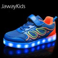 Jawykids USB зарядки светящиеся дети светодиодные кроссовки детей мода светящиеся обувь мальчики девушки складной спорт бегущий зажигание обувь 210306