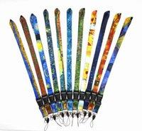10 cores desenhos animados alça de girassol para chaves telefone celular corda de identificação crachá titular corda pintura a óleo padrão chaveiro
