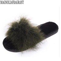 Slippers Real Fur Ostrich Hair Woman Flip Flops Platform Home Slides Silk Bow Designer Pompom Mules