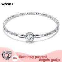 Wostu High Quality Real 925 Silver Silver Silver Pulsera de amor para las mujeres Ajuste de la marca original DIY Beads Charm Jewelry 210315