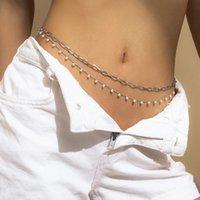 Sexy vintage estético cadena de vientre perla enlace cuerpo cadena cintura cadena cinturón calle streetwear verano mujer moda cuerpo joyería