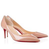 NUD / Bombas de vestido de couro de patente negra para mulheres sapato de fundo vermelho Iriza sapatos sexy senhora vermelha-solas de alto saltos de saltos de alta qualidade
