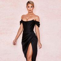 Cryptographic Off Shoulder Sexy Strapless Split Corset Satin Dresses Fashion 2020 Bodycon Dress Women Party Night Club Elegant