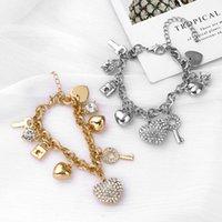 New Jewelry Love Lock Personality Full Diamond Heart Gold and Sier Bracelet Women's Diamond Crystal Bracelet