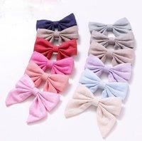 Children's hair accessories cotton linen cloth art girls 12-color bag waist bow hairpin a word clip