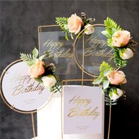 Other Festive & Party Supplies 1Pcs Happy Birthday Wedding Christmas Cake Topper Acryli Metalc Artificial Flowers For Baby Shower Decoration