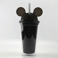 Tumblers est!!! 8Colors 15oz Mouse Ear Tumbler with Dome Lid 450ml Acrylic Cups Straws Double Walled Travel Mugs Cute Child Kid Water Bottles CU5D