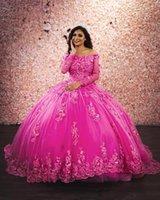 Jolie robe de boule de fleurs Quinceanera robes à épaule à manches longues dentelle appliques longueur longueur brithadday paillon robe doux 16 robe