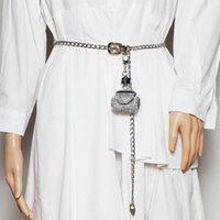 أحزمة 2021 طويل ربط سلسلة الخصر حزام مع حقيبة صغيرة عملة للنساء انفصال لطيف بلينغ حجر الراين حزمة فاني