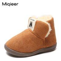Miqieer зимние детские снежные ботинки для мальчиков девушки плюшевые теплые малыши туфли дети мягкие нескользящие хлопчатобумажные домашние туфли детей короткие ботинки