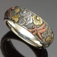 2021 Новая мода панк винтаж цветок стрекоза подсолнечника обручальное кольцо для мужчин женщин