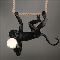 الثريات الحديثة الثريا قرد مصباح الراتنج حبل شنقا إضاءة تركيبات غرفة المعيشة ضوء الحيوان