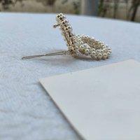 새로운 금속 헤어 클립 C 클래식 라인 석 진주 편지 디자인 헤어핀 클래식 헤어 액세서리 선물 종이 카드