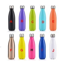 Double Walled Vacuum Insulated Water Bottle Cup Cola Shape Stainless Steel 500ml Vacuum Flasks Thermoses Travel Bottles SEA ship DWE9208