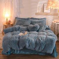 Weiche Plüsch-Bettwäsche-Sets 4-tlg King Queen-Size-Luxus-Quiltcover 2 Kissenbezug Duvet Bett Bettdecken