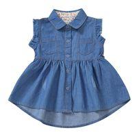 Girl's Dresses Casual Summer Dress Ruffle Button Denim Mermaids Tail Princess Toddler Girl Clothes For Girls Vestidos